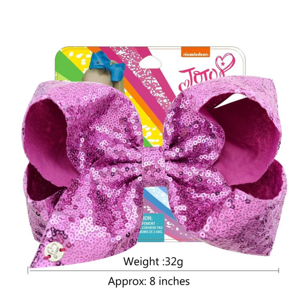 JOJO SIWA Large 8 Inch  Flamingo Bow Rainbow Bowknot Hair Clips For Girls Kids