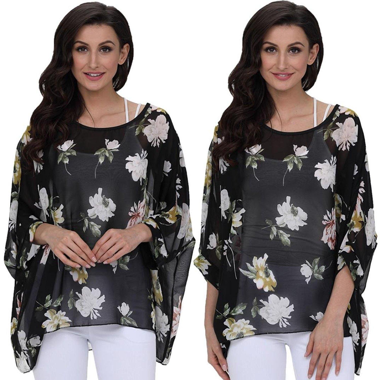 Staron Womens Kimono Cardigans Chiffon Floral Coverup Tops Wrap Kimono Cardigans