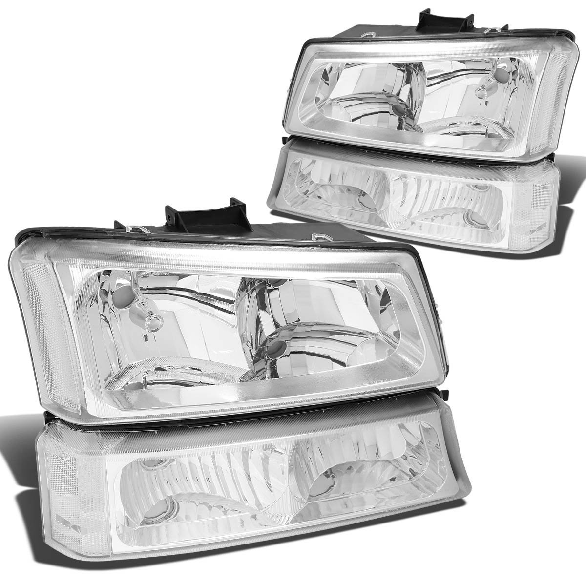 2003-2006 Chevy Silverado 1500 2500 3500 Headlight Replacement and Bumper Signal lamps Assembly (CHROME CLEAR)