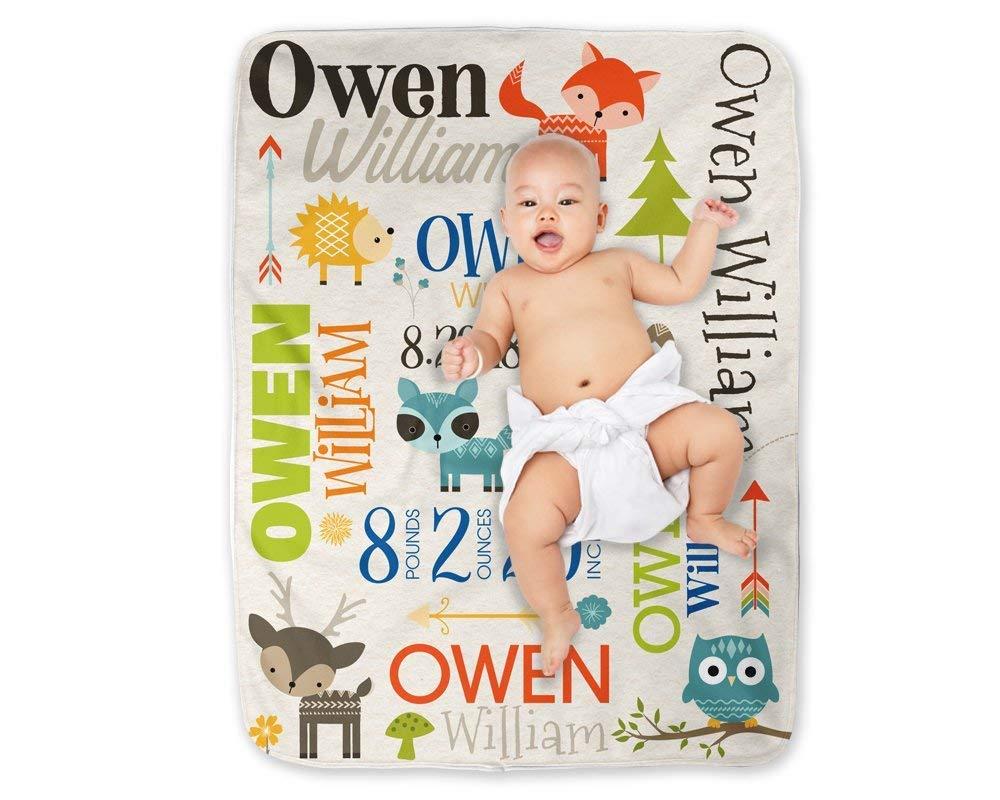 Baby Blanket Boy Forest Woodland Animals Personalized Minky Swaddle Nursery Gift for Boy