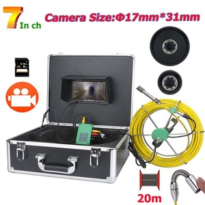 20M 7inch DVR 17mm Industrial Pipe Sewer Inspection Underground Pipeline Endoscope 1000 TVL Camera with 8pcs LED Lights 8GB