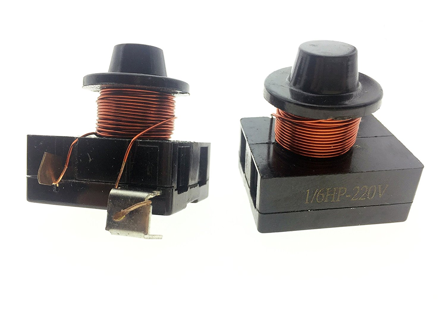 2Pcs Plastic Case Shell Copper Wire Electromagnetic Compressor PTC Starter Solenoid Relay for 1/6HP-220V Refrigerator Black