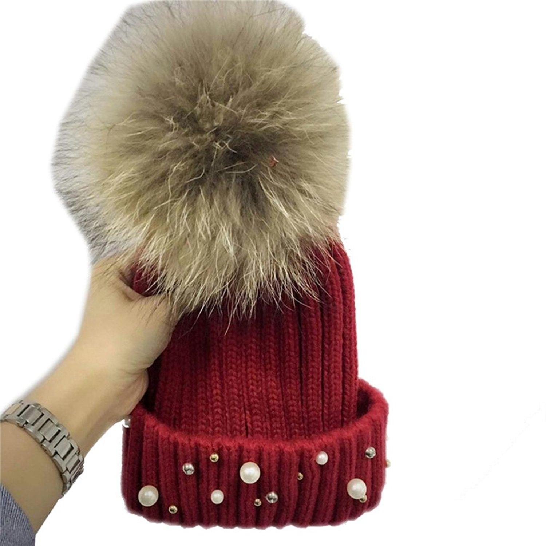 173c95d7 Get Quotations · Modelshow Pearl Net Yarn Wool Hat New Version Faux Fur  Ball Knit Cap Earmuffs
