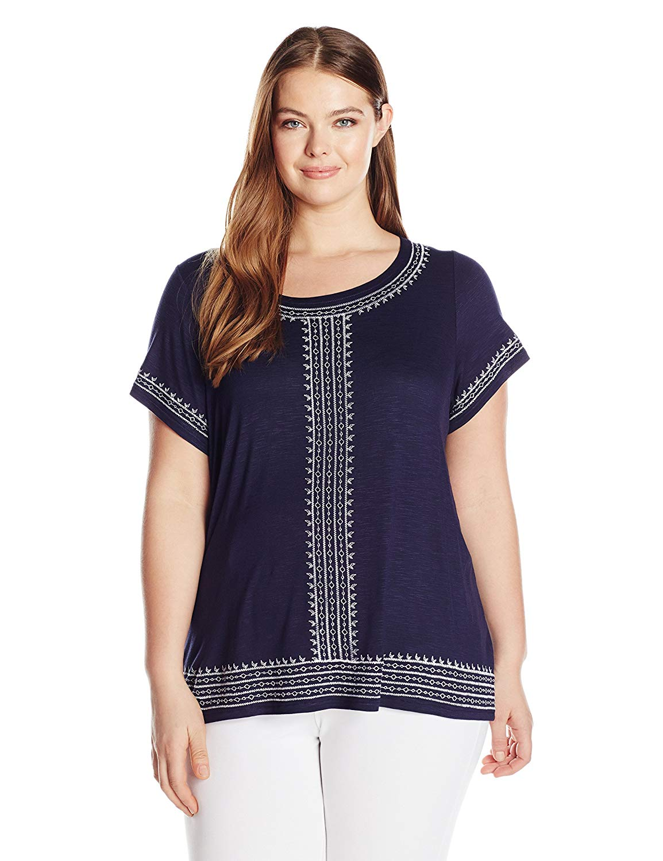 Rafaella Women's Plus Size Embroidered Slub Jersey Knit Top