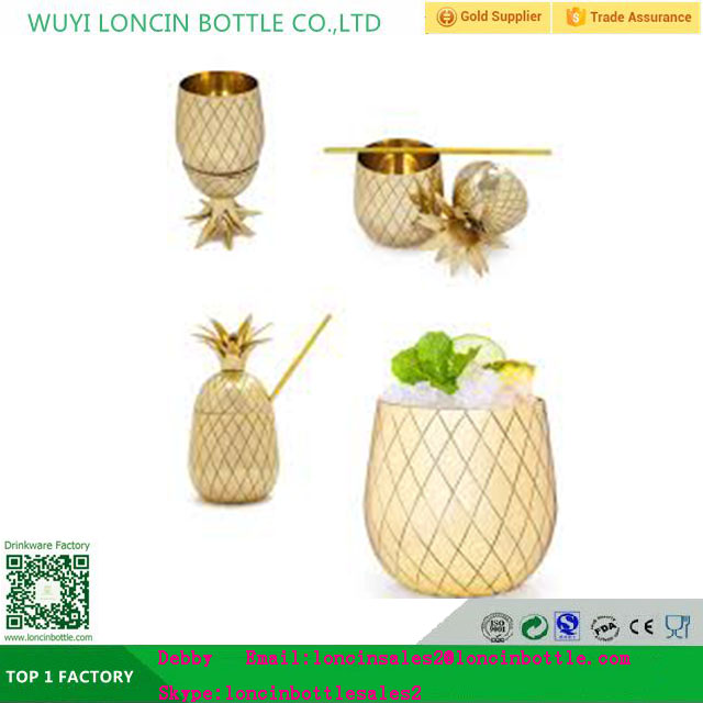Pineapple Cocktail Shaker - Pineapple Tumbler in Gold, Bronze, or Silver