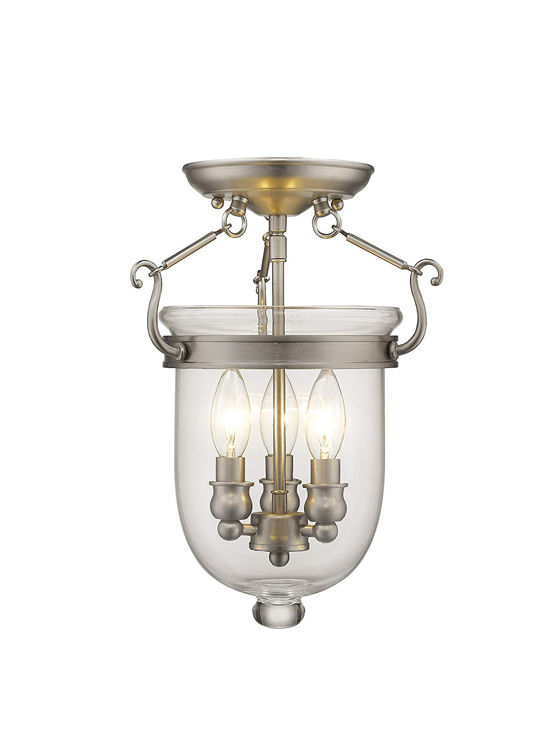 Livex Lighting 5061-91 Jefferson 3 Light Brushed Nickel Bell Jar Semi Flush with Clear Glass