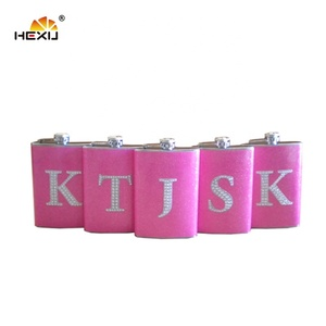2019 USA Amazon buying leads Pink leather with hip Flask