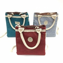 Ladies fashion fabric cooler insulated lunch bags
