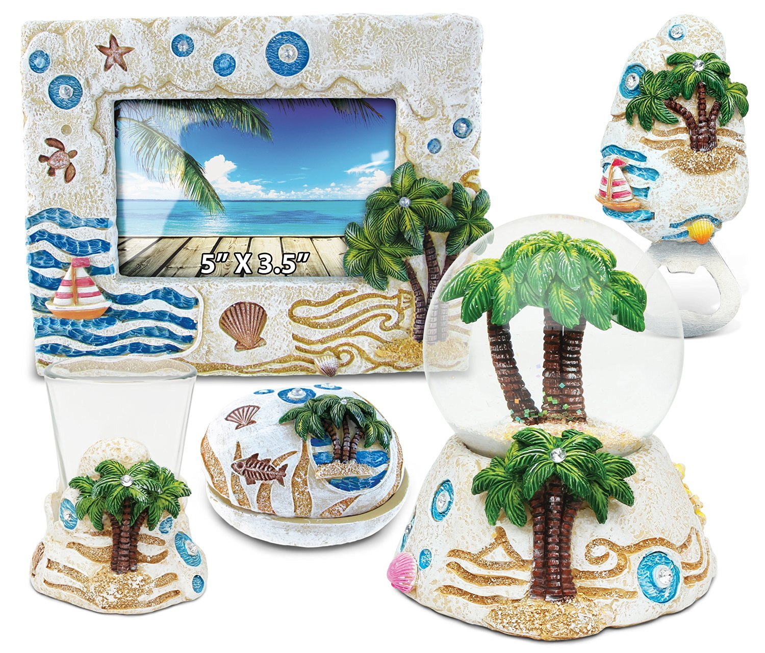 Puzzled Palm Tree Resin Stone Finish Collection including Picture/Photo Frame, Jewelry Box , Snow Globe, Magnet Bottle Opener and Shot Glass - Picture Size 5 by 3 - Unique Elegant Gift and Souvenir
