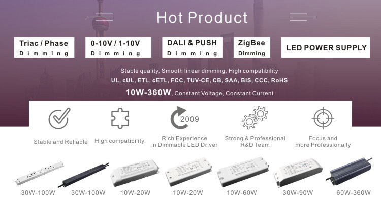 SC Grandly promotes 360W Triac dimming 12V 24V high power factor dimmable LED driver