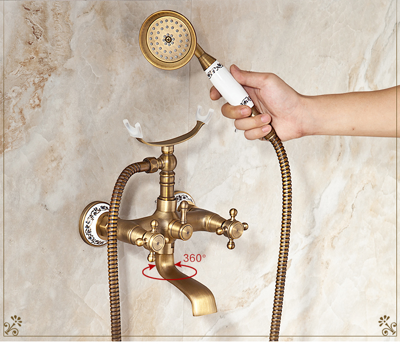 Telephone Shower Faucet Set,Antique Shower Full Copper Shower Suite ...