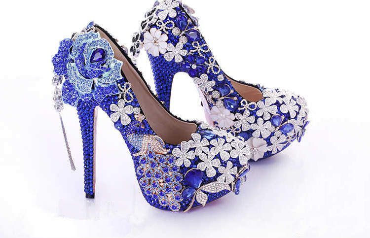 crystal woman high Blue wedding dress Platform Shoes high Bride party shoes BS029 heels female Womens Pumps Luxury BqHSHwE