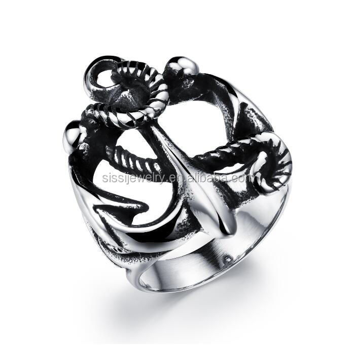 Punk Men's Stainless Steel Anchor Ring