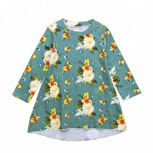In Stock Latest Children Frocks Designs Clothing Wholesale Baby Girls Floral Dress
