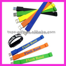custom logo PVC usb flash memory stick wristband