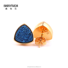 Cheaper price nice druzy agate stud earring color keep 1 years or long women jewelry China factory