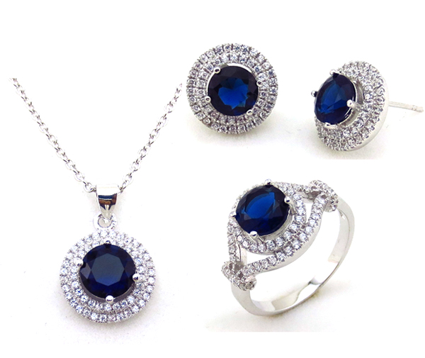 Fashion crystal jewelry sets in silver for girls