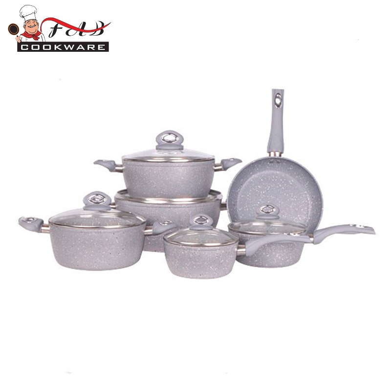 AMC Cookware 11PCS Grey Forged Aluminum Marble Non Stick Coating Cookware Set