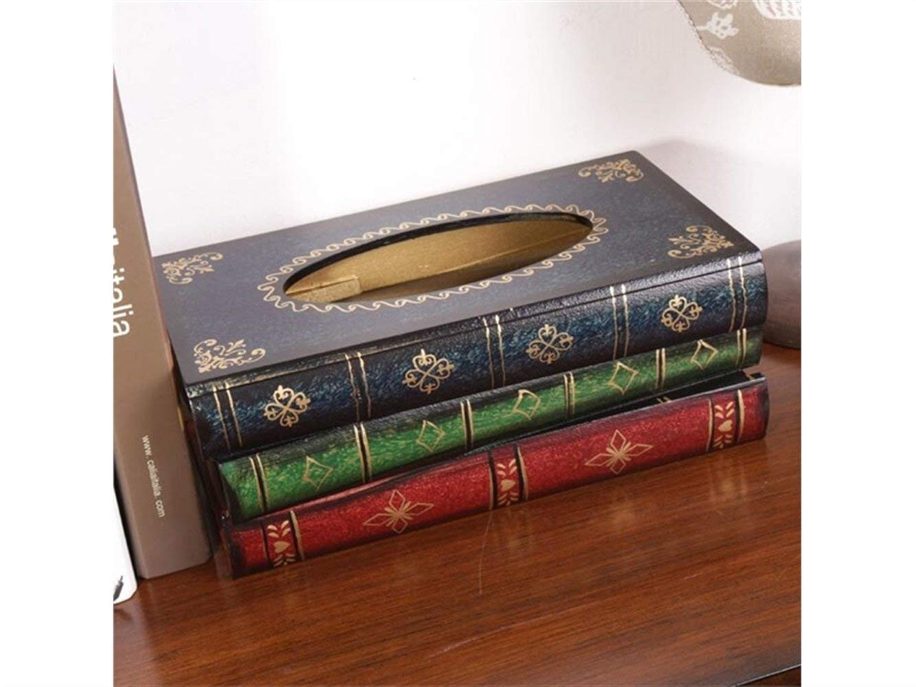 Yuchoi Perfectly Shaped Retro Wooden Book Shaped Tissue Box Antique Book Tissue Box Decoration