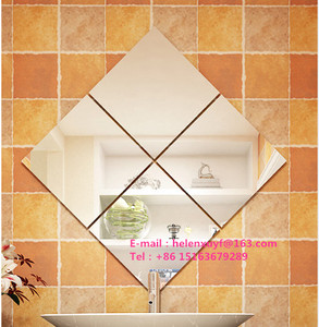 Wholesale Set Of Glass Self Adhesive Bathroom Kitchen Decorative wall Mirror Tiles