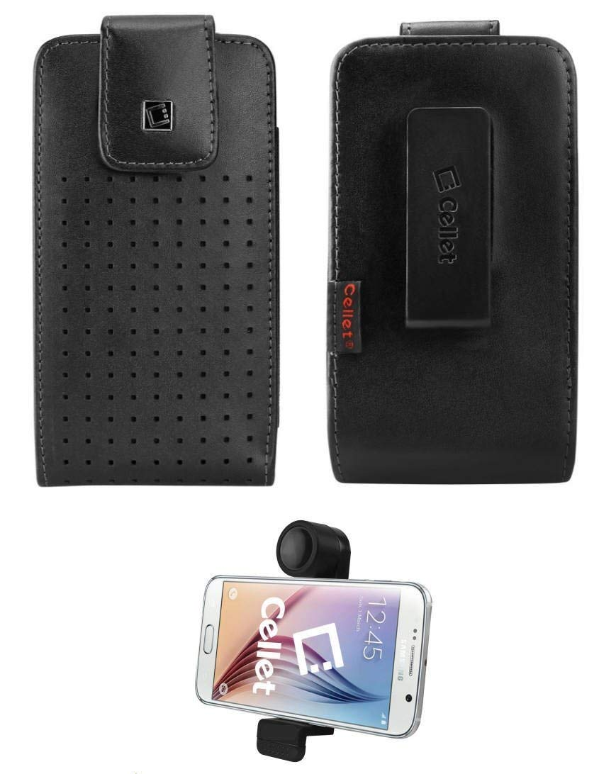 LG V30 Cellet Vertical Teramo Premium European Slide In Leather Case with 360° Non-Removable Swivel Belt Clip , FREE CAR VENT HOLDER INCLUDED!