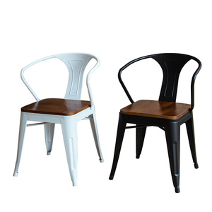 D12 Metal Stack-able Industrial Chic Dining Bistro Cafe Side Chairs,Outdoor and Indoor,Wood Seat