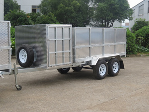 big storage aluminum toolbox on draw bar,hand tool shelf, utility tradesman tipping trailer