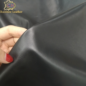 China Supplier hair sheep skins lambs black glossy shiny soft garment leather