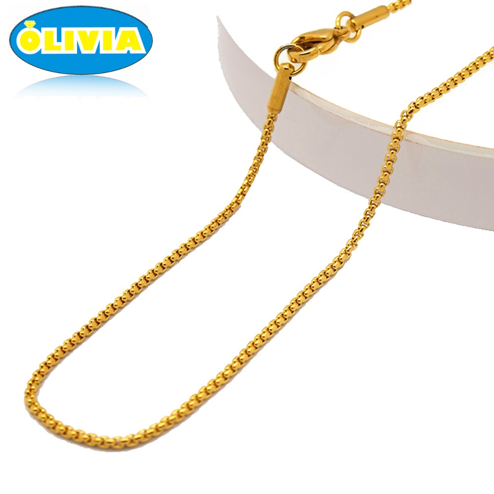 Olivia 3MM Mens Iced Out Hip Hop 18k Pvd Gold Chain Necklace 18in