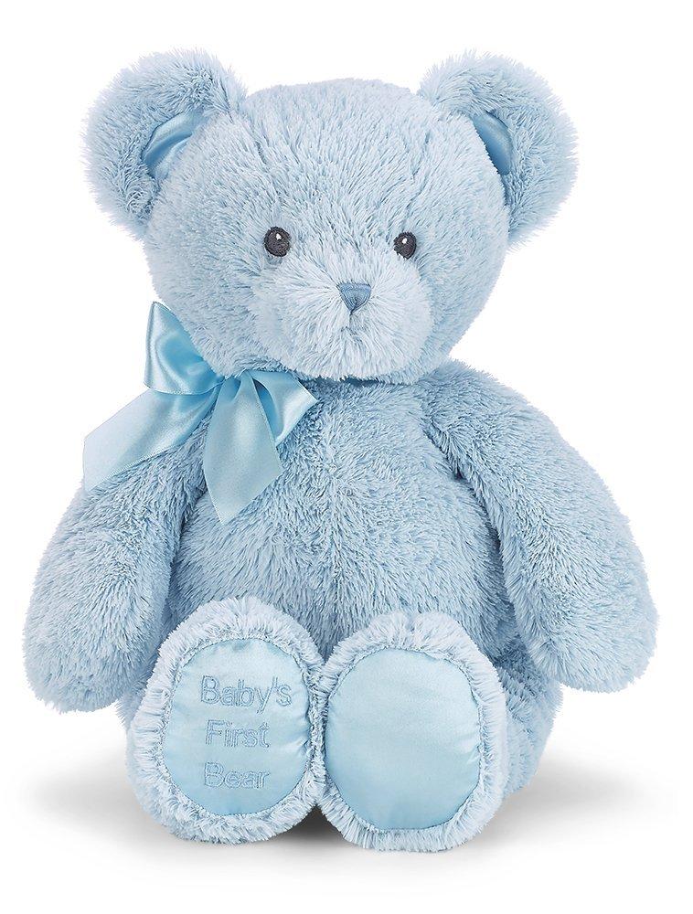 "Bearington Baby's First Teddy Bear Blue Plush Stuffed Animal, 12"""