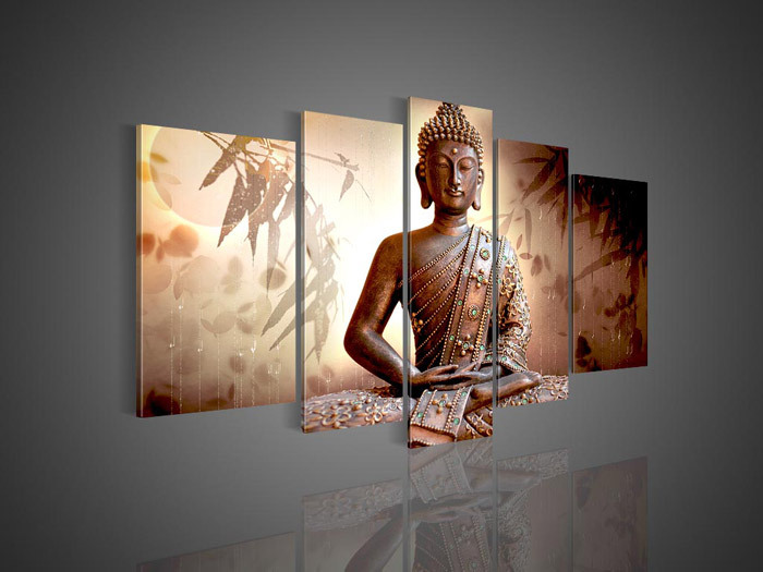 Buy 5 Panel Wall Art Religion Buddha Oil Painting Canvas ...