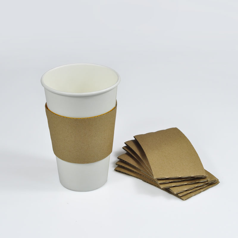 Disposable corrugated paper coffee cup sleeve