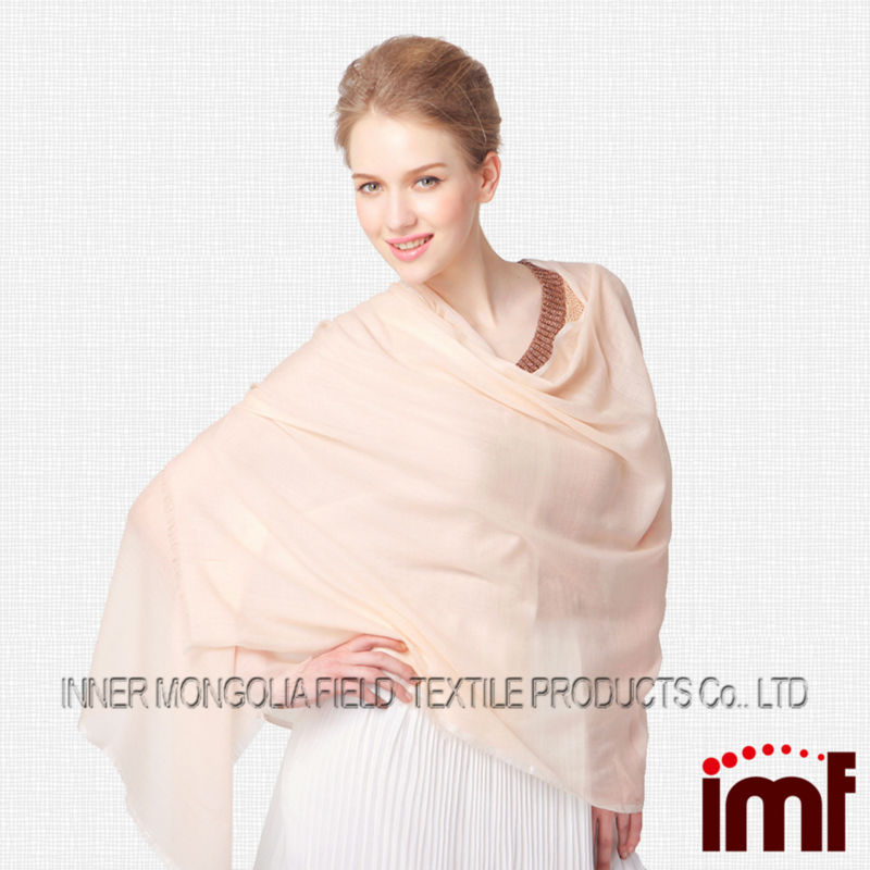 Custom Solid Flesh-coloured Lady Wool Scarf Hohhot Factory Manufacturer