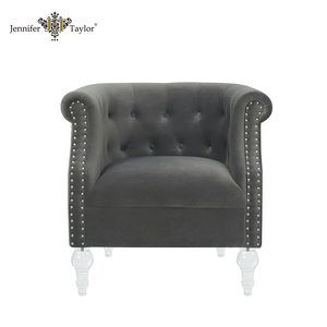 Waiting room furniture luxury wooden salon fabric arm chair