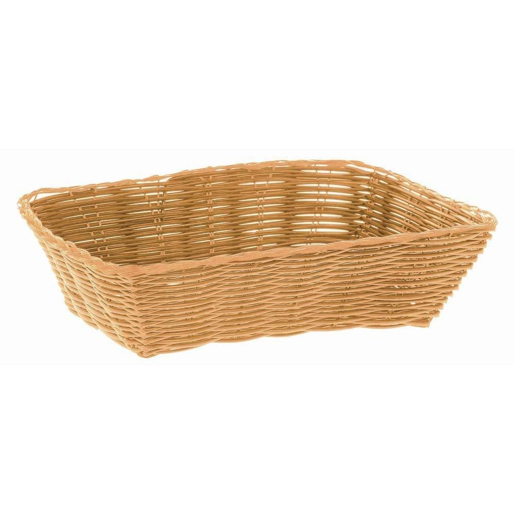 HUBERT Bread Basket Rectangular Natural Woven Plastic - 9 3/4 L x 6 3/4 W x 2 3/4 H