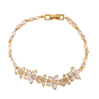 Wholesale China Factory Top Design 18K Gold Plated Cubic Zircon Custom Charm Bracelet Fashion Jewellery Import Accessories