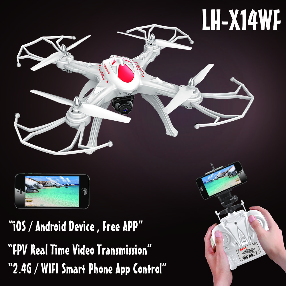 LH-X14WF Shantou Toys Amazing LED Light 360 Rolling 4CH Wifi Control RC Quadcopter Drone Helicopter with camera