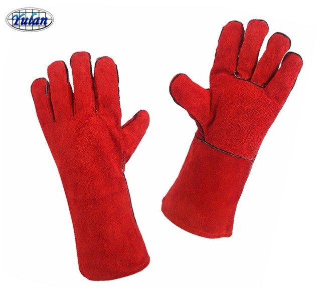 cow split leather dark red / red welding safety gloves