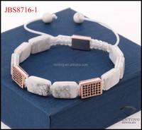 2017 Newest design custom logo semi-precious stone square bead CZ diamond square macrame bracelet