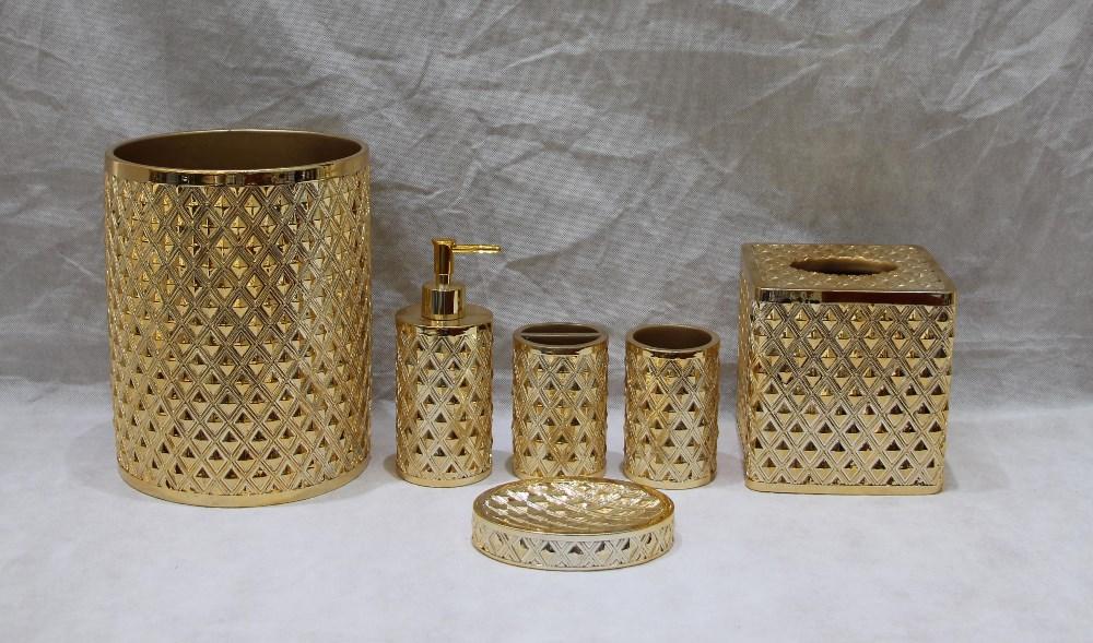 Accessori per il bagno oro casa giardino set accessori da - Accessori bagno oro ...