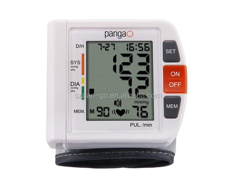 2016 pangao simple type clinical digital wrist watch blood pressure monitor with ce iso