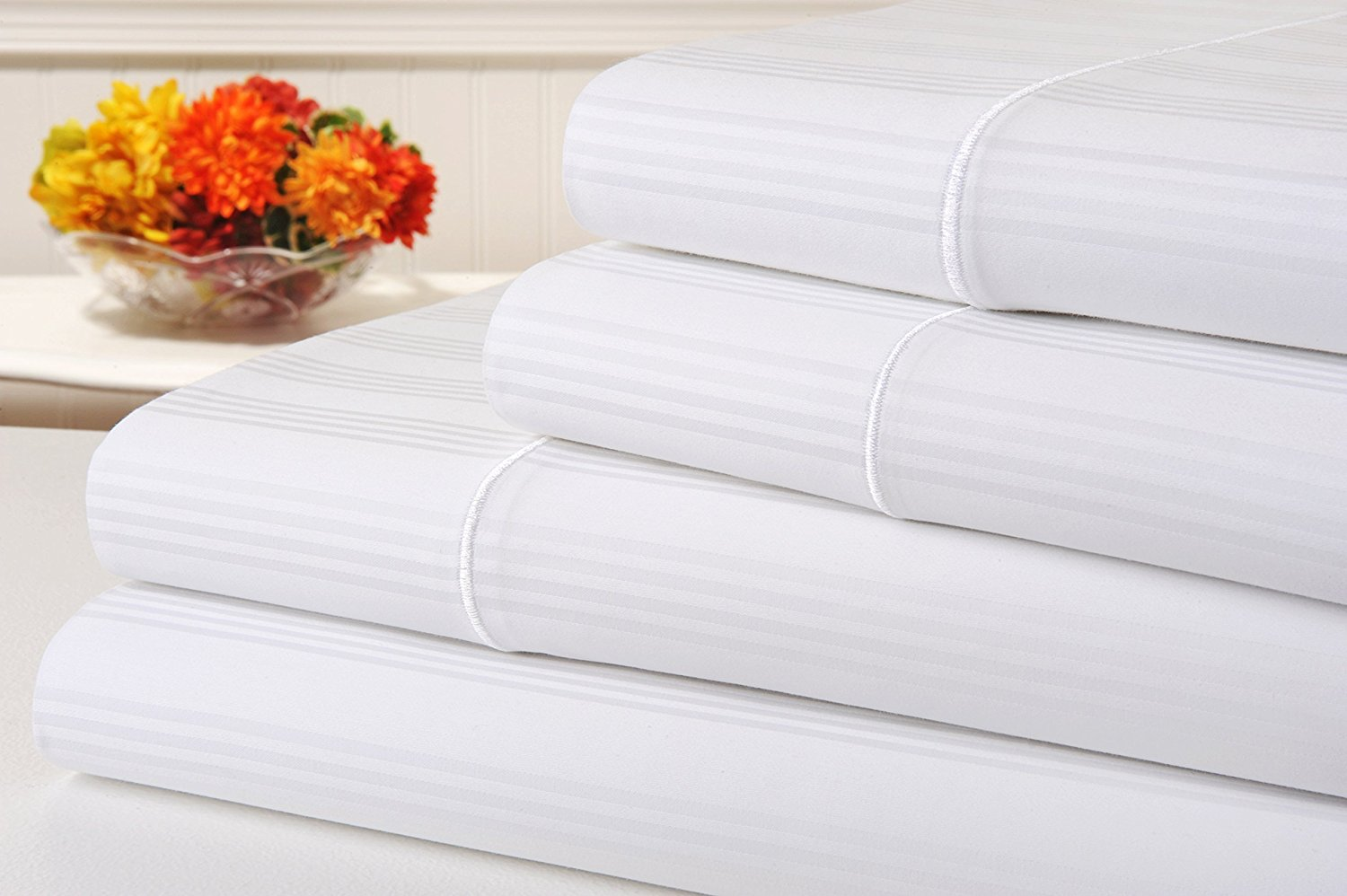 kathy ireland 400 Thread Count 100% Cotton Stripe Bed Sheet Set, Queen Size Bed Sheets 4 Piece Set, Long-staple Combed Pure Cotton Bedsheets, Soft & Silky Sateen Weave by Home (Queen, White)