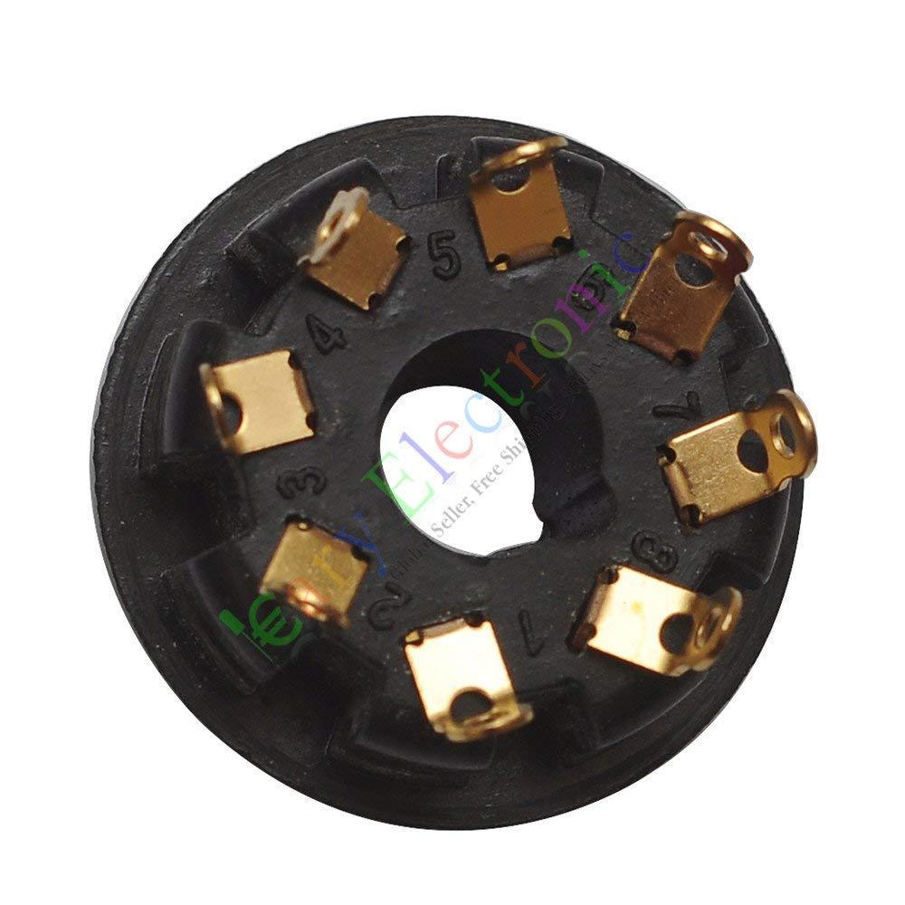 100Pcs 8Pin Gold Ceramic Vacuum Tube Sockets for EL34 6V6 6L6 Audio Amplifier