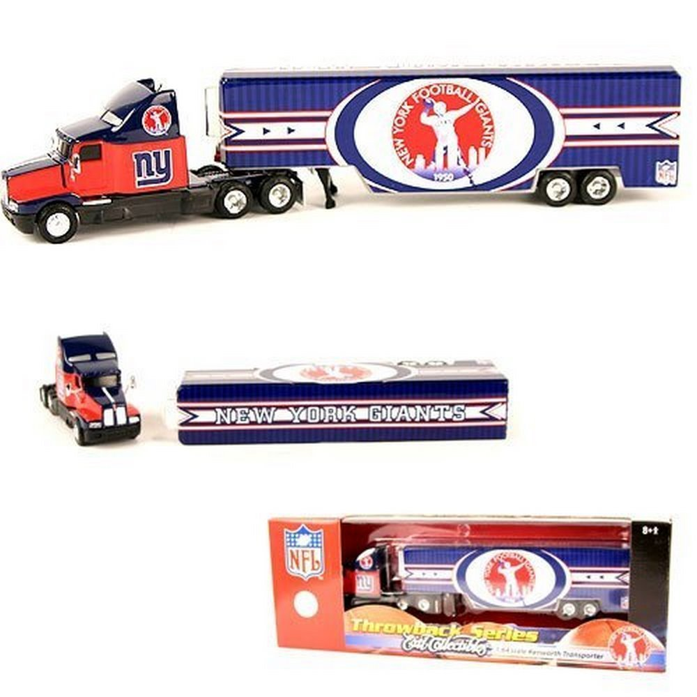 NFL Licensed New York Giants Throwback Series Ertl Collectibles 1:64 Scale Kenworth Transporter