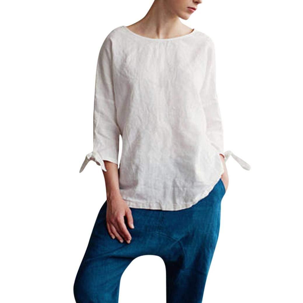 Kinrui women blouse and t-shirt Women's 3/4 Sleeve Cotton Linen Kimono O-Neck Top with Tie Sleeve Loose Tunic Blouse