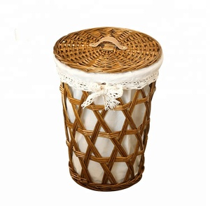 Round bulk wicker hamper laundry basket with lid