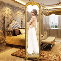 Custom shaped deco looking free standing fog shower mirror