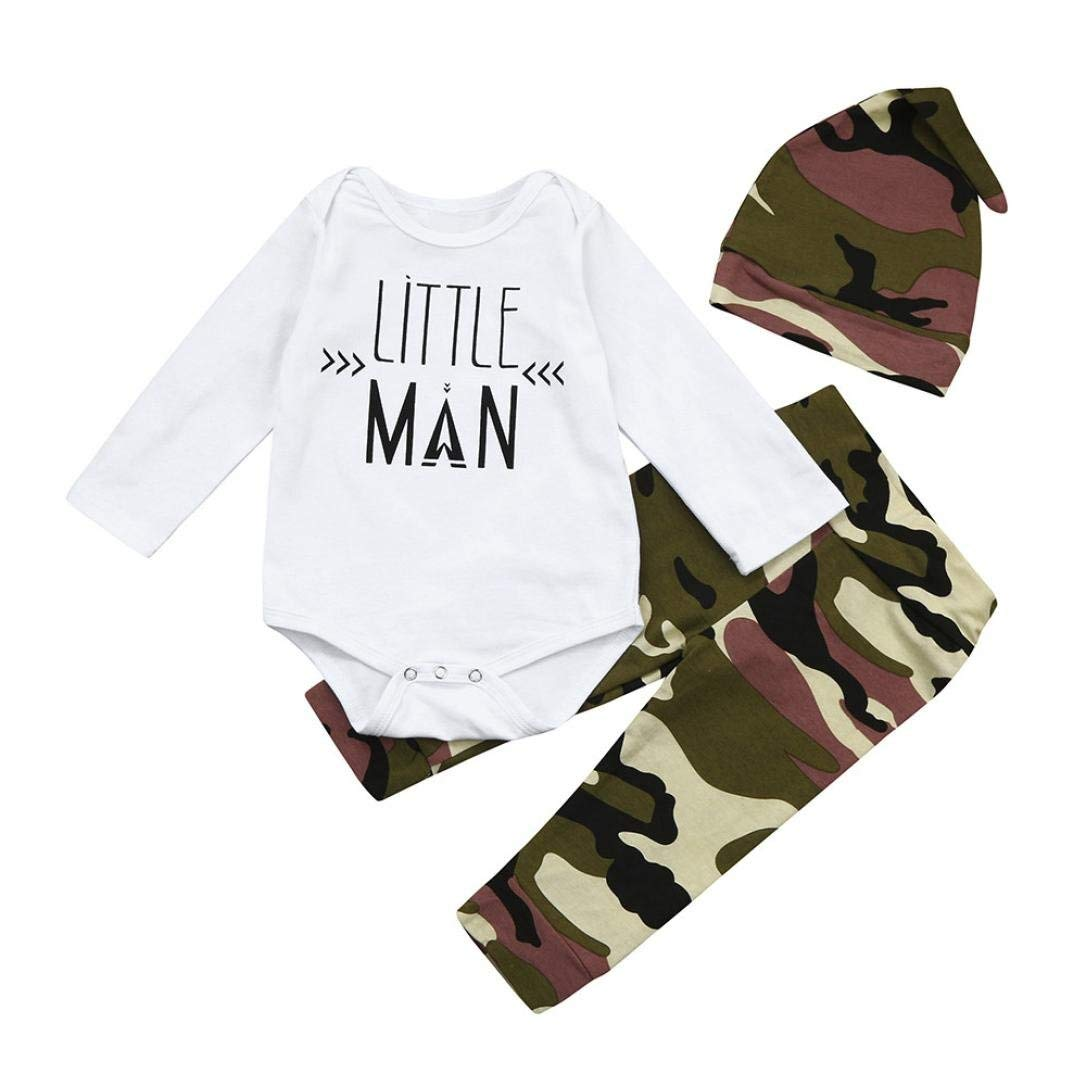 Toddler Baby Boys King Print T-Shirt Tops+Camouflage Pants,2Pcs Stylish Outfits Kids Clothes DIGOOD For 0-4 Years Old Baby