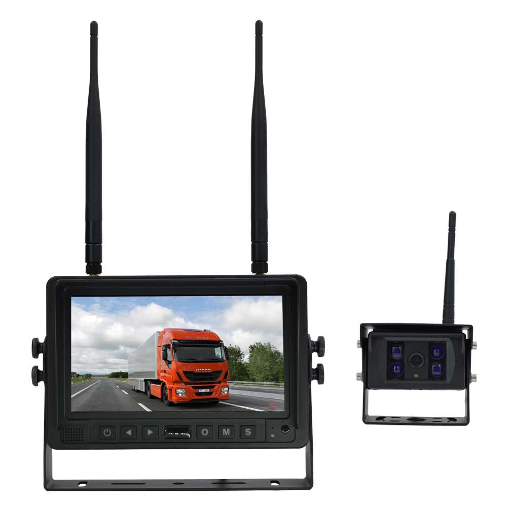 "Heavy Duty 2.4G Digital Wireless 7"" Quad Split Reverse Parking Camera Kit with Built-in DVR Function and 120m Transmitting"