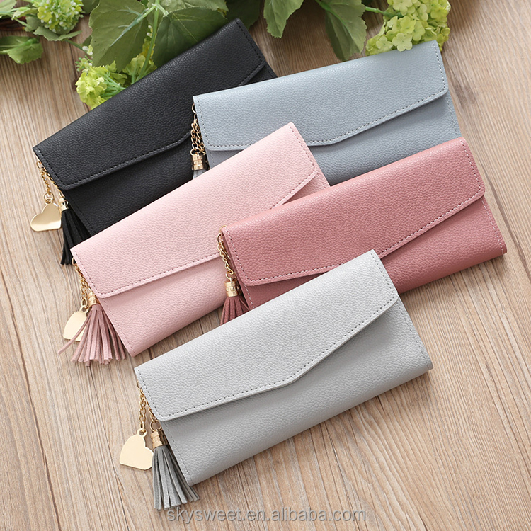 SWTR1149 Fashion Heart Pendant Long Wallet PU Leather Women Wallets Simple Female Bag Ladies Card Holders Coin Purse